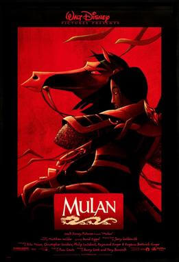 A movie poster for Mulan. Images copyright ©1998 Disney.