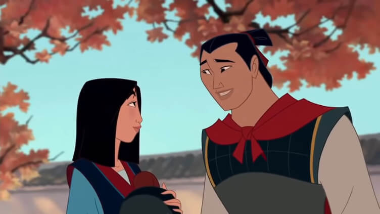 Mulan and Li Shang exchanging a glance under a magnolia tree.