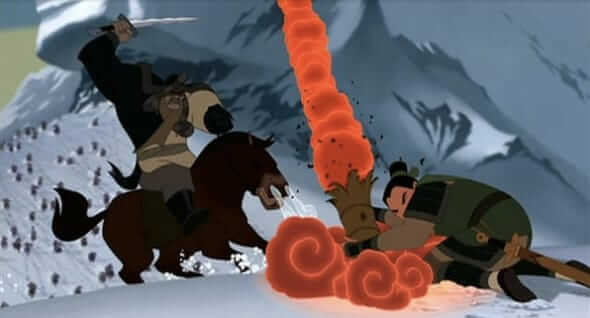 Mulan wins a decisive victory by firing a rocket, which causes an avalanche.