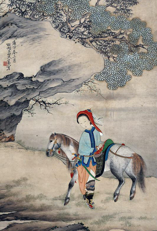 """Mulan Joins the Army."" Feng Luoxia, a Qing Dynasty artist, completed this painting in 1900 (Public domain)."