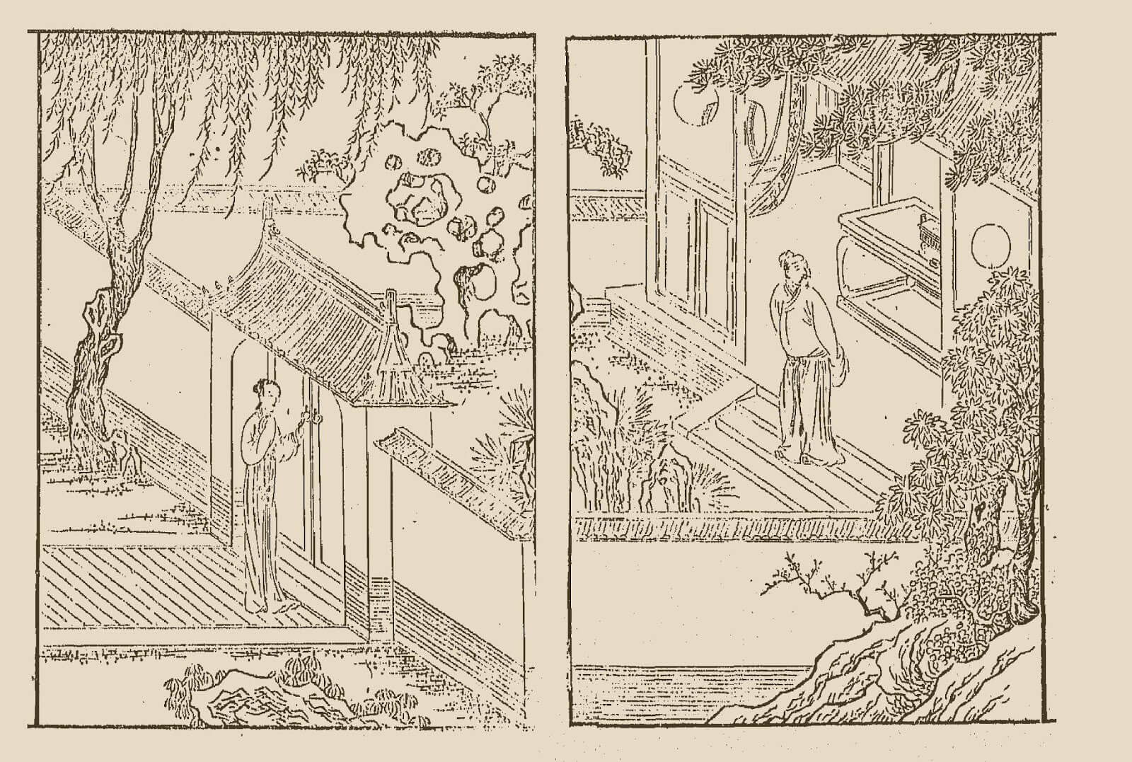 Mulan returns home. Included as an illustration in an early woodblock printing of a collection of Xu Wei's plays